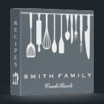 """Personalized Family Recipe Cookbook 3 Ring Binder<br><div class=""""desc"""">This is beautiful personalized recipe book full of favorite dishes, organized into one beautiful binder. Personalized with your text on the front, and featuring an original illustration of a white fork, knife, and spoon surrounded by a curly swirly border on a burlap looking background. Kitchen tools Recipe binder would be...</div>"""