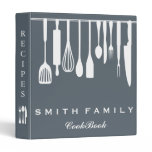 Personalized Family Recipe Cookbook 3 Ring Binder<br><div class='desc'>This is beautiful personalized recipe book full of favorite dishes, organized into one beautiful binder. Personalized with your text on the front, and featuring an original illustration of a white fork, knife, and spoon surrounded by a curly swirly border on a burlap looking background. Kitchen tools Recipe binder would be...</div>