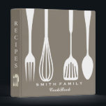 """Personalized Family Recipe Cookbook Binder<br><div class=""""desc"""">This is beautiful personalized recipe book full of favorite dishes, organized into one beautiful binder. Personalized with your text on the front, and featuring an original illustration of a white fork, knife, and spoon surrounded by a curly swirly border on a burlap looking background. Kitchen tools Recipe binder would be...</div>"""