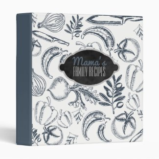 Personalized Family Recipe Cookbook | Blue Veggies 3 Ring Binder