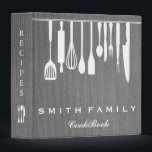 """Personalized Family Recipe Cookbook Burlap 3 Ring Binder<br><div class=""""desc"""">This is beautiful personalized recipe book full of favorite dishes, organized into one beautiful binder. Personalized with your text on the front, and featuring an original illustration of a white fork, knife, and spoon surrounded by a curly swirly border on a burlap looking background. Kitchen tools Recipe binder would be...</div>"""