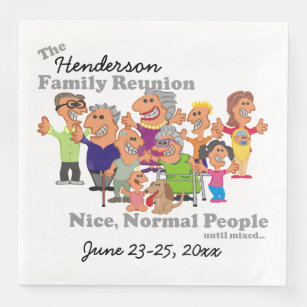Personalized Family Reunion Funny Cartoon Paper Dinner Napkin