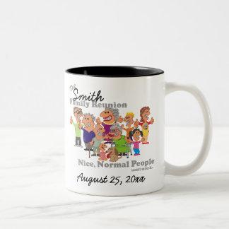 Personalized Family Reunion Funny Cartoon Two-Tone Coffee Mug