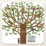 "Personalized Family Reunion Square Paper Coaster<br><div class=""desc"">Whimsical family tree filled with colorful birds. Designed for family reunions,  parties,  or bird watching events. Edit text to add family name and year.</div>"