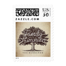 Personalized Family Reunion Vintage Oak Tree Postage
