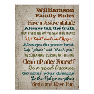 Personalized Family Rules House Sign Perfect Poster
