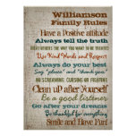 Personalized Family Rules House Sign Poster