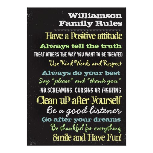 Personalized Family Rules House Sign Print