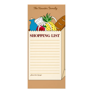 Personalized Family Shopping List Customized Rack Card