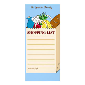Personalized Family Shopping List Rack Card Template