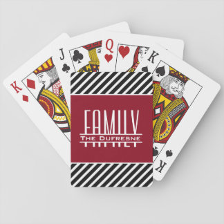 Personalized Family & Stripes Playing Cards