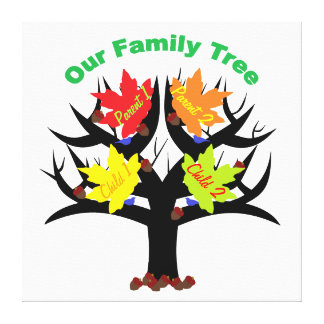 Personalized Family Tree (Family of 4) Canvas