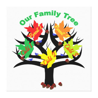 Personalized Family Tree (Family of 5) Canvas