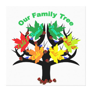 Personalized Family Tree (Family of 6) Canvas