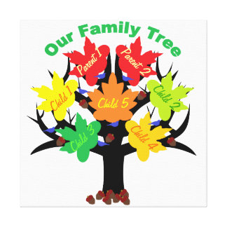 Personalized Family Tree (Family of 7) Canvas Gallery Wrapped Canvas