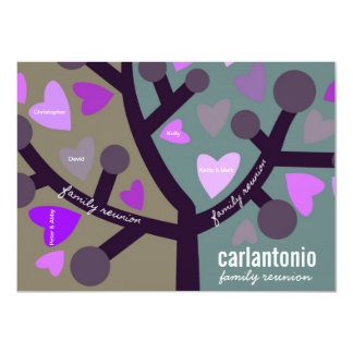 Personalized Family Tree & Hearts Family Reunion Card