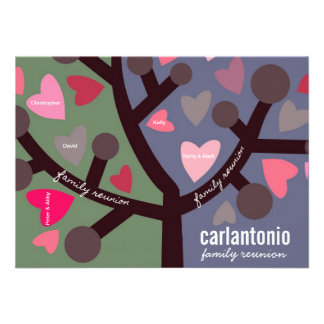 Personalized Family Tree & Hearts Family Reunion Personalized Announcement