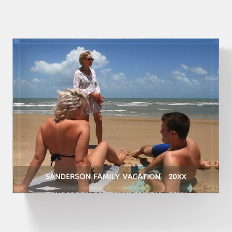 Personalized Family Vacation Photo Paperweight