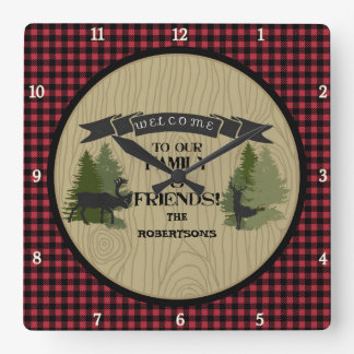 Personalized Family Welcome Mountain Lake Cabin Square Wall Clock