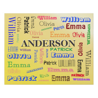 Personalized Family Word Cloud Name Collage Faux Canvas Print