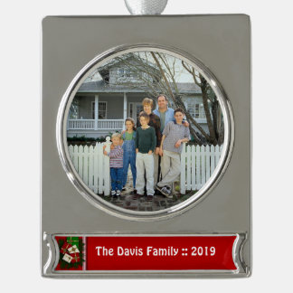Personalized Family Yearly Photo For Christmas Silver Plated Banner Ornament