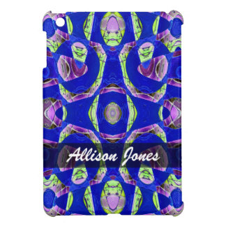 Personalized fancy blue abstract iPad mini case