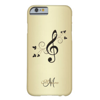 Personalized Fancy Music Clef on Gold iPhone Case Barely There iPhone 6 Case