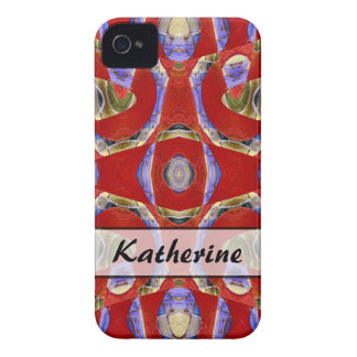 Personalized fancy red abstract Case-Mate iPhone 4 case