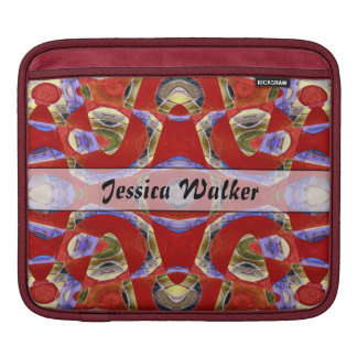 Personalized fancy red abstract iPad sleeves