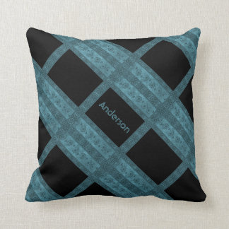 Personalized Fancy Turquoise Lattice Throw Pillow