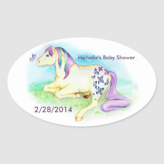 Personalized Fantasy Pony Baby Shower Stickers
