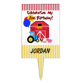 Personalized Farm 2nd Birthday Cake Topper