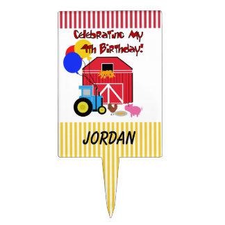 Personalized Farm 4th Birthday Cake Topper