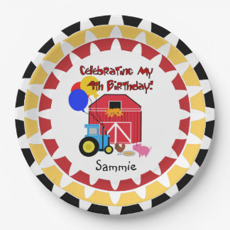 Personalized Farm 4th Birthday Paper Plates 9 Inch Paper Plate