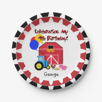 Personalized Farm 4th Birthday Paper Plates 7 Inch Paper Plate