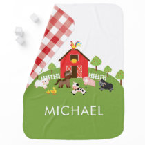 Personalized Farm Animals Baby Receiving Blanket
