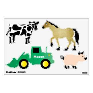 Personalized Farm Animals Tractor Boy Wall Decals