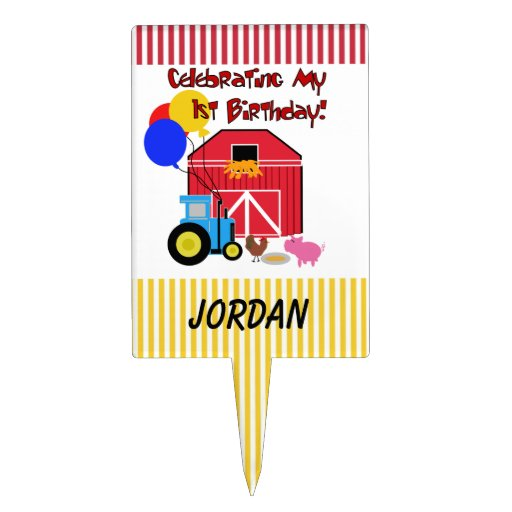 Personalized Farm First Birthday Cake Topper