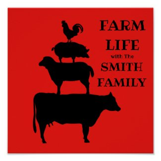 Personalized FARM LIFE Farm Animals Poster