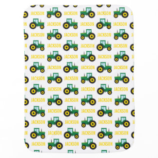 PERSONALIZED Farm Tractor Baby Swaddle Blanket