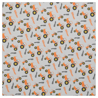 Personalized farm tractor name orange grey fabric