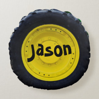 Personalized Farm Tractor Wheel Round Pillow