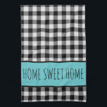 """Personalized Farmhouse Black Buffalo Plaid Kitchen Towel<br><div class=""""desc"""">Personalized Farmhouse Black Buffalo Plaid kitchen towel With a touch of teal,   Change the wording to your choice, </div>"""
