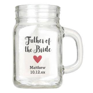 Personalized Father of the Bride Wedding Bridal Mason Jar