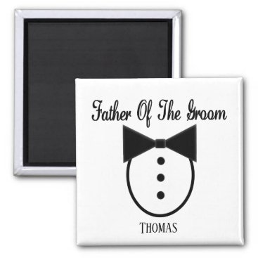 Wedding Themed Personalized Father of the Groom Tux and Bow tie Magnet