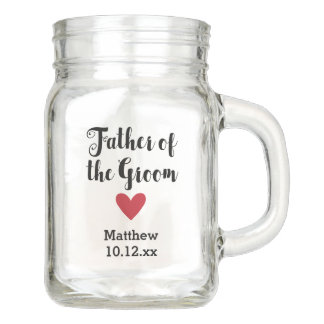 Personalized Father of the Groom Wedding Bridal Mason Jar