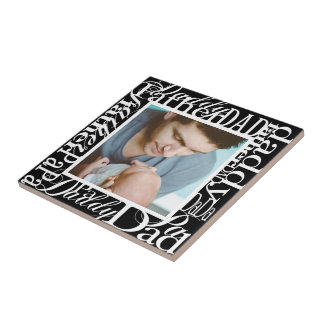 Personalized Father's Day Word Collage Black Ceramic Tile