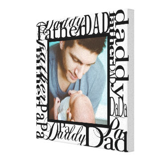 Personalized Father's Day Word Collage White Canvas Print