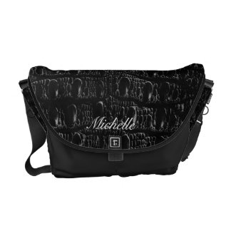 Personalized Faux Black Crocodile Messenger Bag