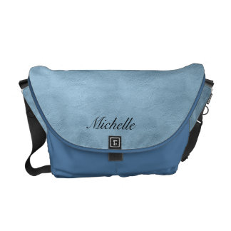 Personalized Faux Blue Leather Messenger Bag